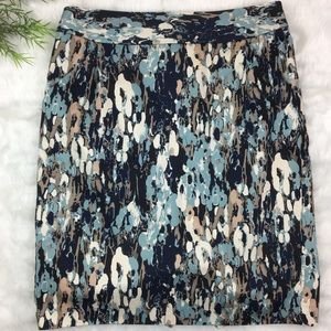 Ann Taylor Blue Colorful Lined Skirt 6 Pockets